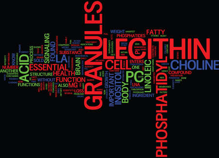LECITHIN GRANULES Text Background Word Cloud Concept