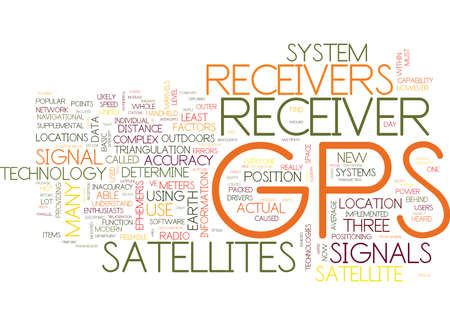 GPS RECEIVERS EXPLAINED Text Background Word Cloud Concept Ilustração