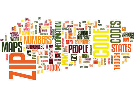 ZIP CODE MAPS Text Background Word Cloud Concept Illustration