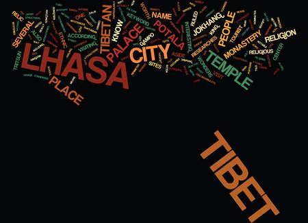 LHASA TIBET Text Background Word Cloud Concept Illustration