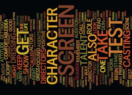 YOUR FIRST SCREEN TEST Text Background Word Cloud Concept