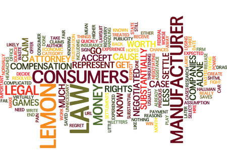 LEMON LAW CASE ASSISTANCE HOW TO FIGHT AND WIN Text Background Word Cloud Concept Illustration