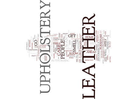 LEATHER UPHOLSTERY Text Background Word Cloud Concept Ilustração