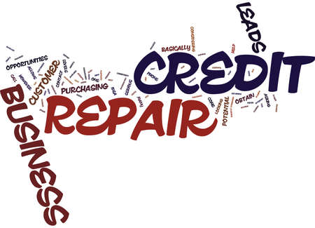 poverty: YOUR OWN CREDIT REPAIR BUSINESS Text Background Word Cloud Concept