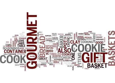 GOURMET GIFT BASKETS Text Background Word Cloud Concept