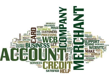 YOUR WEB MERCHANT ACCOUNT Text Background Word Cloud Concept Ilustração