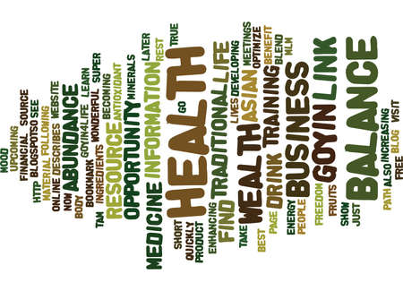 GOYIN BALANCE Text Background Word Cloud Concept Illustration