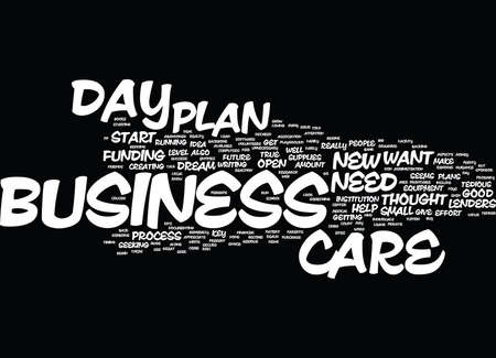 YOUR DAY CARE BUSINESS PLAN Text Background Word Cloud Concept Illustration