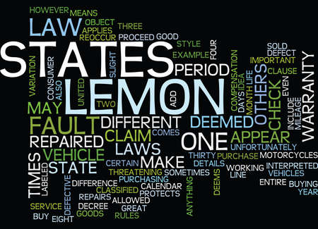 LEMON LAW DETAILS Text Background Word Cloud Concept