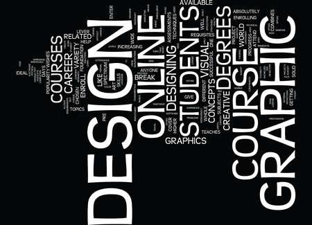 GRAPHIC DESIGN COURSE Text Background Word Cloud Concept Ilustração