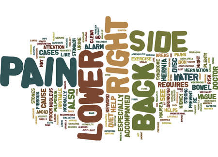 Z BACK PAIN LOWER RIGHT SIDE Text Background Word Cloud Concept