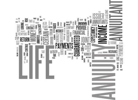 annuity: LIFE ANNUITY YES OR NO Text Background Word Cloud Concept Illustration