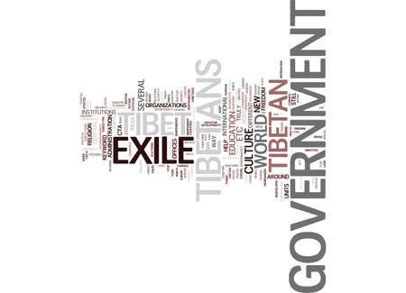 GOVERNMENT IN EXILE TIBET Text Background Word Cloud Concept Çizim
