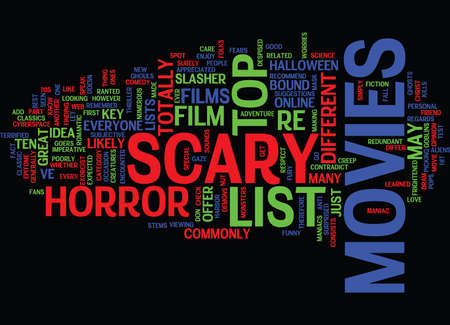 LIST OF SCARY MOVIES Text Background Word Cloud Concept 向量圖像