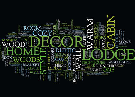 LODGE DECOR FOR A HOME AS COZY AS A CABIN IN THE WOODS Text Background Word Cloud Concept