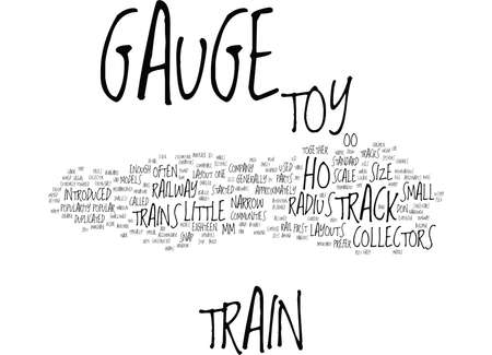 LITTLE TOY TRAINS Z GAUGE HO GAUGE AND OO GAUGE Text Background Word Cloud Concept