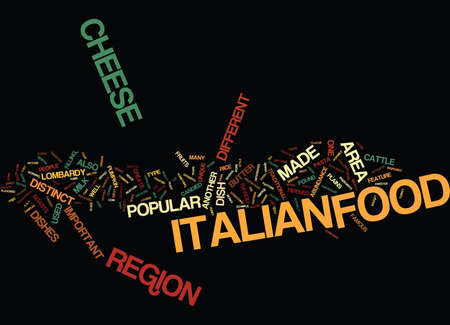 LOMBARDY THE OTHER SIDE OF ITALIAN FOOD Text Background Word Cloud Concept