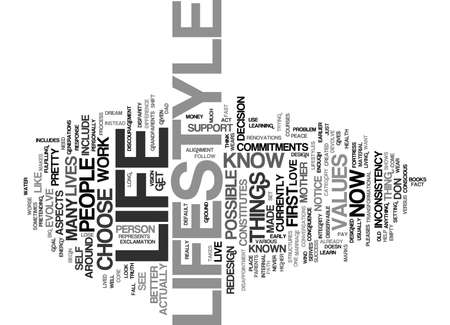 congruence: LIFE VERSUS LIFESTYLE Text Background Word Cloud Concept Illustration