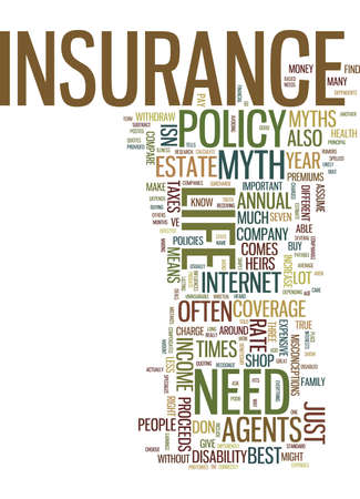 LIFE INSURANCE MYTHS ABOUT LIFE INSURANCE Text Background Word Cloud Concept