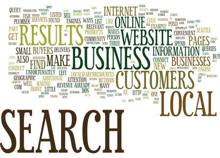 LOCAL SEARCH MAKES YOUR BUSINESS A BIG FISH IN YOUR LOCAL COMMUNITY Text Background Word Cloud Concept