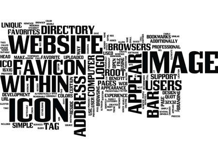 LOGO IN THE BROWSERS ADDRESS BAR FAVICON Text Background Word Cloud Concept