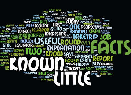 make known: LITTLE KNOWN FACTS Text Background Word Cloud Concept