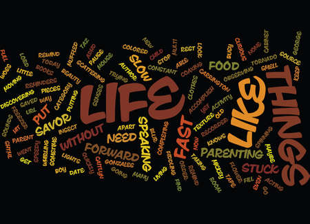 LIFE STUCK IN FAST FORWARD Text Background Word Cloud Concept