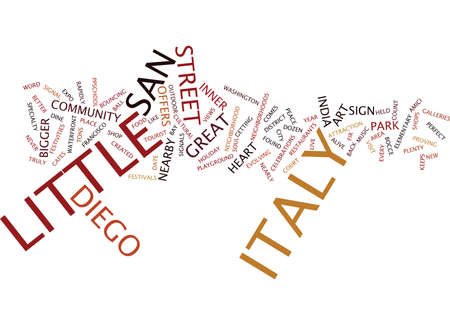 LITTLE ITALY SAN DIEGO Text Background Word Cloud Concept