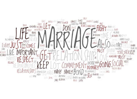 MARRIAGE AND COMMITMENT Text Background Word Cloud Concept