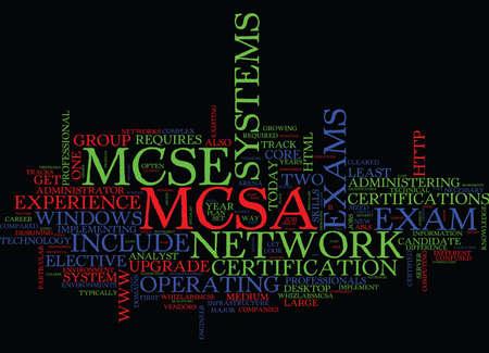 MCSE V S MCSA Text Background Word Cloud Concept