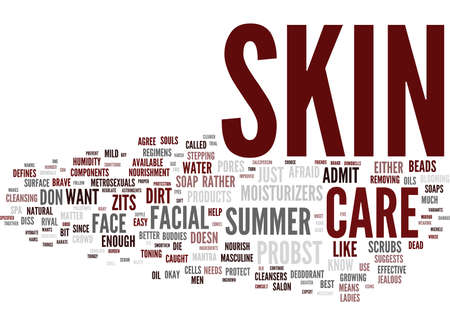 MASCULINE SKIN CARE FOR THE SUMMER Text Background Word Cloud Concept