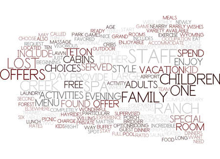 LOST CREEK RANCH AND SPA Text Background Word Cloud Concept