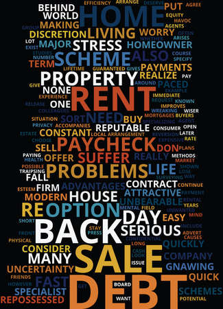 LOSE THE STRESS OF DEBT WITH A SALE AND RENT BACK SCHEME Text Background Word Cloud Concept