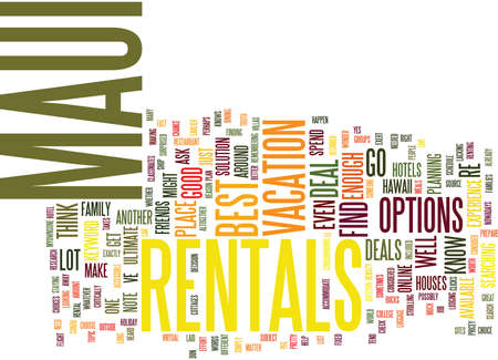 MAUI RENTALS Text Background Word Cloud Concept Ilustração