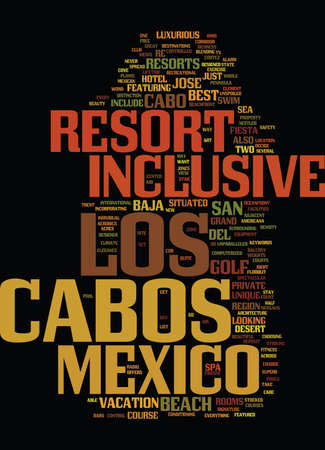 LOS CABOS INCLUSIVE MEXICO RESORT Text Background Word Cloud Concept