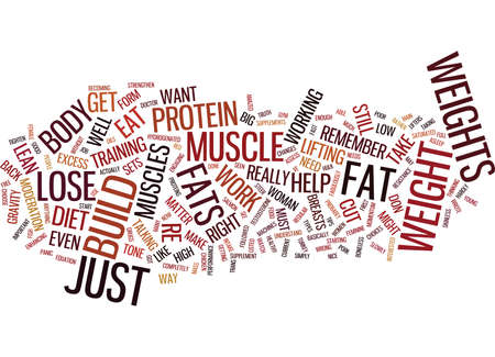 LOSE WEIGHT AND BUILD MUSCLE THE RIGHT WAY Text Background Word Cloud Concept Illusztráció