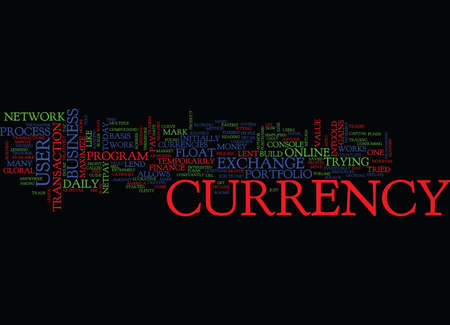 temporarily: MAZU E CURRENCY EXCHANGE Text Background Word Cloud Concept Illustration
