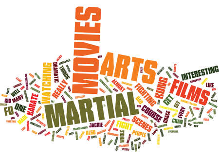 MARTIAL ARTS MOVIES Tekstachtergrond Word Cloud Concept Stockfoto - 82624269