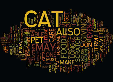 LONG TERM CAT CARE Text Background Word Cloud Concept