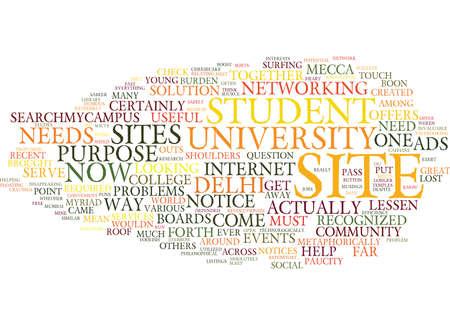학생을위한 MECCA SEARCHMYCAMPUS 텍스트 배경 워드 클라우드 개념 일러스트