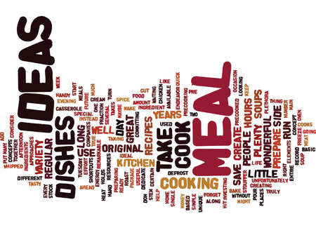MEAL IDEAS Text Background Word Cloud Concept