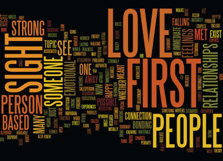 LOVE AT FIRST SIGHT IS IT POSSIBLE Text Background Word Cloud Concept
