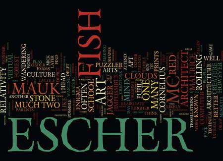 MAURICE CORNELIUS ESCHER MC ESCHER Text Background Word Cloud Concept Illustration