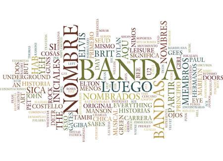 LOS NOMBRES DETRAS DE LAS BANDAS DE MUSICA Text Background Word Cloud Concept Stock Vector - 82624317