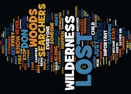 LOST AND FOUND IN THE GREAT OUTDOORS Text Background Word Cloud Concept