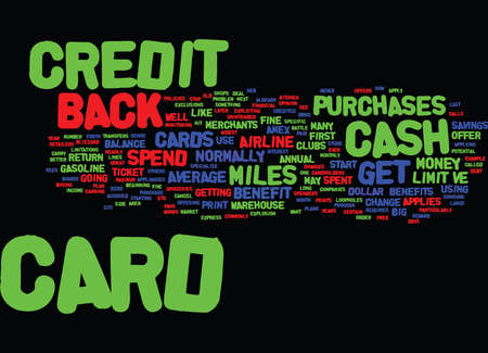 MAXIMUM RETURN ON YOUR CREDIT CARDS Text Background Word Cloud Concept
