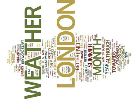 런던 날씨 날씨 텍스트 배경 Word 구름 개념