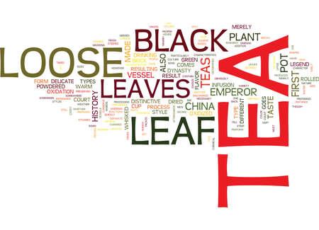 LOOSE LEAF BLACK TEA Text Background Word Cloud Concept