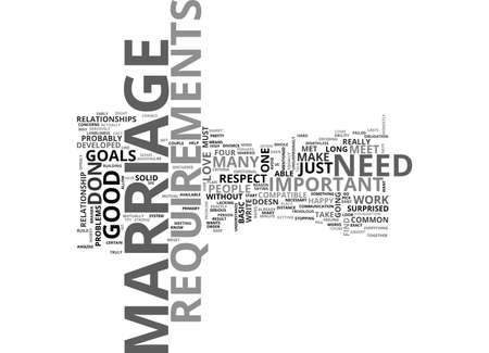 MARRIAGE REQUIREMENTS YOU MUST MEET TO HAVE A HAPPY MARRIAGE Text Background Word Cloud Concept