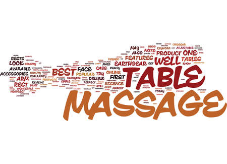 MASSAGE TABLE Text Background Word Cloud Concept Illustration